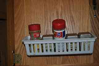 Spices stored behind a galley cabinet door. & What Where How and When of Packing an RV - Lessons learned ...